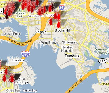 bed bugs baltimore call map